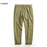 Augraw 2018 Summer New Casual Pants Outfit Men 100 Cotton Slim Fit Chinos Fashion Trousers Male