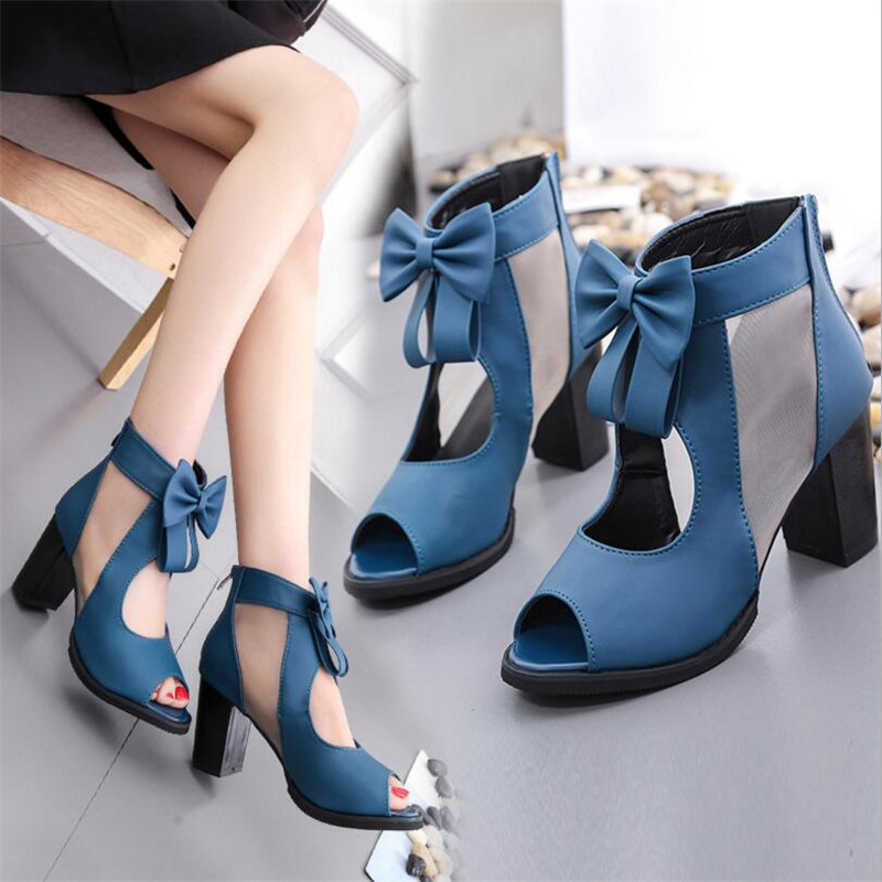 Fish mouth thick with sandals women's shoes bow high heels spring and summer new mesh women's shoes wild shoes