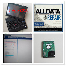 v10.53 alldata and mitchell software hdd 1tb installed in car diagnosic laptop second hand x201t i7 4g touch screen ready to use