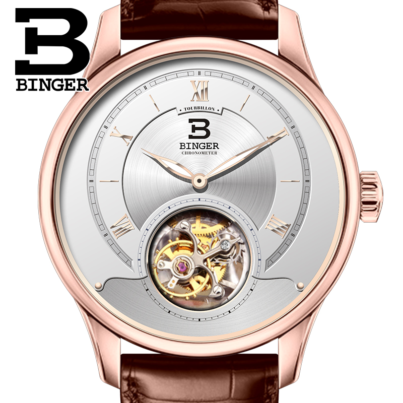 Switzerland Luxury Brand Men Watches BINGER Watch Men Seagull Automatic Movemt Tourbillon Sapphire Alligator Hide Mechanical 3 switzerland watches men brand oyalie luxury simple rose gold wristwatches tourbillon sapphire mirror automatic mechanical watch