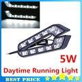 1 pair 6LED L-shaped 7 Семь Шрифты Лампы 5 Вт Дневного Lights12V DRL Safelight Стайлинга Автомобилей Парковка головная Лампа БЕСПЛАТНАЯ ДОСТАВКА