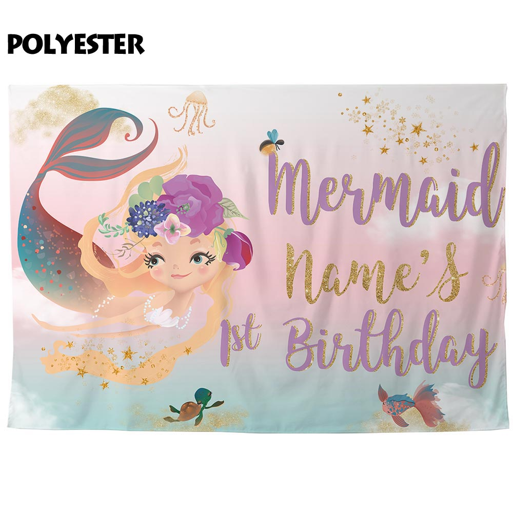 Allenjoy mermaid backdrop photocall birthday party sweet girl underwater pastel color glitter stars photo background photophone in Background from Consumer Electronics