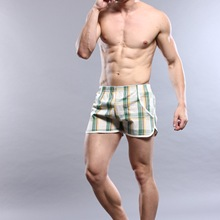 Male 100% cotton pajama pants plaid shorts four angle panties 100% cotton casual male 1111864