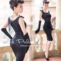 le palais vintage summer women 50's elegant Audrey Hepburn lace patch wiggle pencil little black dress plus size pinup dresses