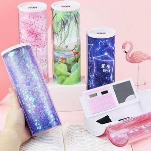Image 3 - Boîte à crayons cylindrique multifonction, Quicksand créatif, avec calculatrice 2020 rose bleu, papeterie scolaire porte stylo