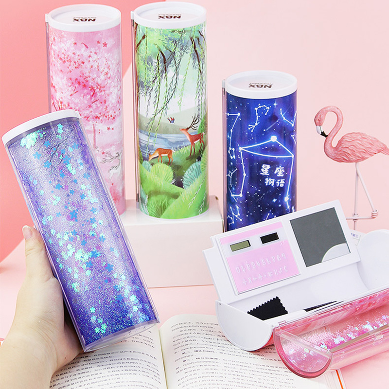 Image 3 - Quicksand Translucent Creative Multifunction Cylindrical Pencil Box Case 2019 school Stationery Pen Holder Pink Blue calculator-in Pencil Cases from Office & School Supplies