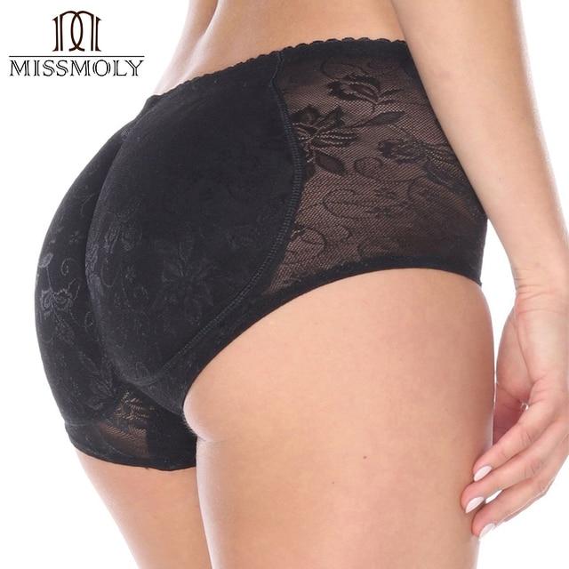 Miss Moly Women Stretch Padded Underwear Shapewear Bum Butt Lift Enhancer Brief Panties Black Beige M-2XL