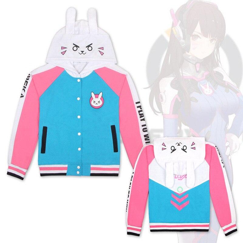 Game OW D.VA Hana Song Sweatshirts Cosplay Costume 2018 Autumn winter fashion Jackets Game anime men women Hooded zipper sweater