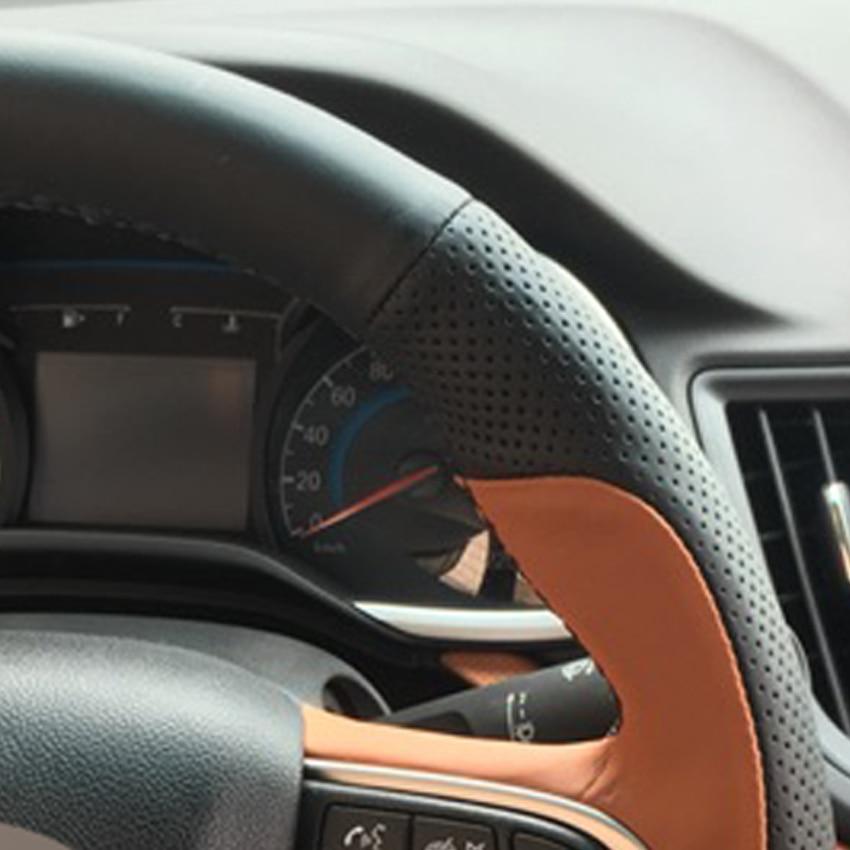 Black Brown Genuine Leather Car Steering Wheel Cover for Chevrolet Sail 2015-2017 Lova Aveo 2016 2017 Cavalier 2016 2017