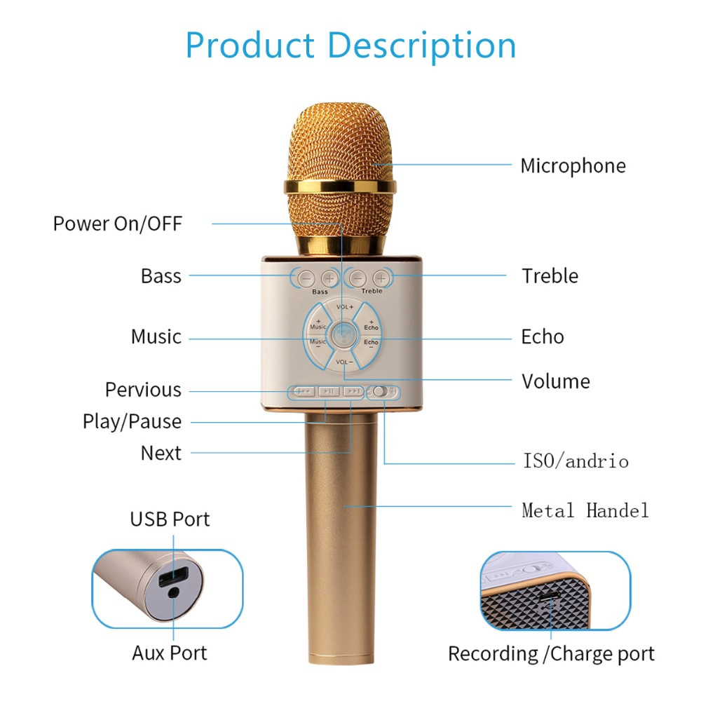 Produs Tosing Q9 04 Wireless Karaoke Microphone Bluetooth Speaker 2 Mic Player In 1 Handheld Sing Recording Portable Ktv For Ios Android