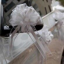 30pcs สีทึบสีขาว/ทองที่สวยงามขนาดใหญ่ 65 มม.ดึงโบว์ริบบิ้นสำหรับช่อดอกไม้ของขวัญงานแต่งงานรถตกแต่ง