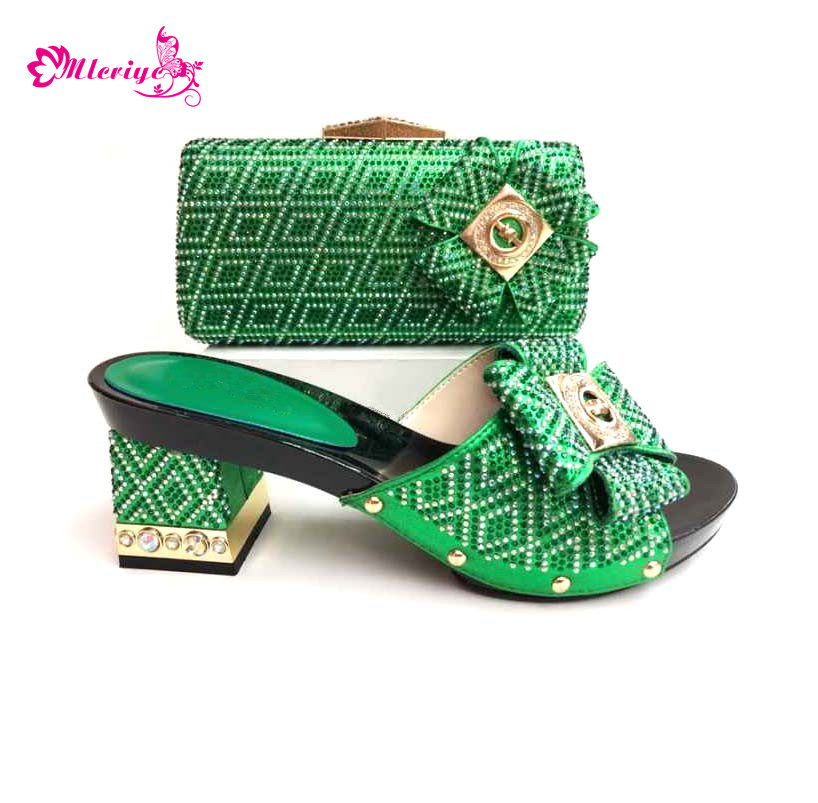 0039 green Shoes and Bag Set Matching Shoe and Bag Set for African Party Nigerian Women Shoes and Bag Set To Match for Wedding doershow green shoes and bag to match italian matching shoe and bag set african wedding shoes and bag to match for party sjcc1 3