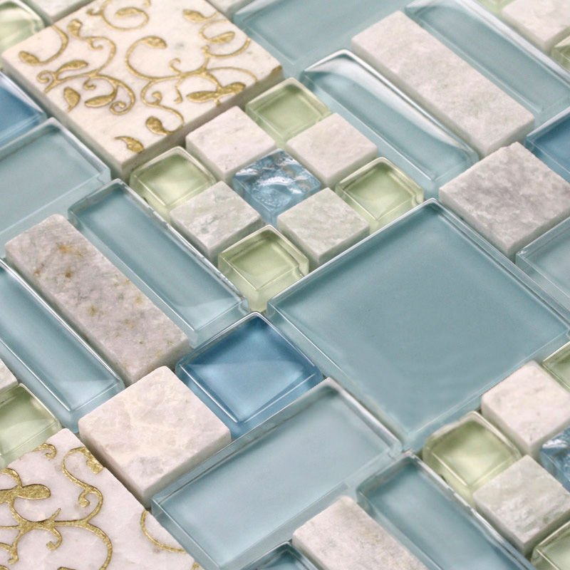 Marble tile sheets square stone mosaic art wall kitchen for Craft mosaic tiles bulk