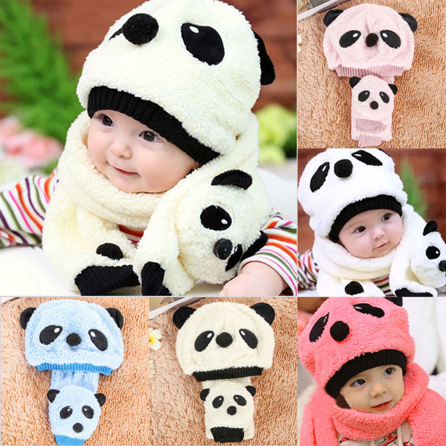 8058d0f0a US $3.0 27% OFF|Autumn Winter Baby Hat Scarf Set Cute Cartoon Panda Warm  Fleece Kids Hats+Scarf 2Pcs/Set Children Girls Boys Crochet Beanie Caps-in  ...