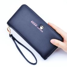 new style Multicolor Ms. wax leather wallet female long paragraph leather wallets Purse for women