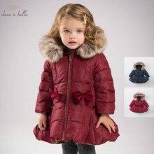 DB6099 dave bella del bambino di inverno delle ragazze giù giacca bambini 90% piume danatra bianca giù capretti del cappotto imbottito con cappuccio della tuta sportiva