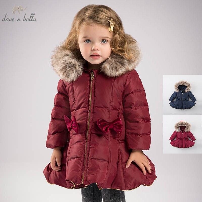DB6099 dave bella invierno Bebé niñas abajo chaqueta niños 90% de pato blanco abajo acolchado abrigo niños Abrigo con capucha