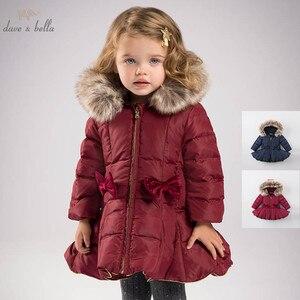Image 1 - DB6099 dave bella kış bebek kız aşağı ceket çocuk 90% beyaz ördek aşağı yastıklı ceket çocuklar kapüşonlu giyim