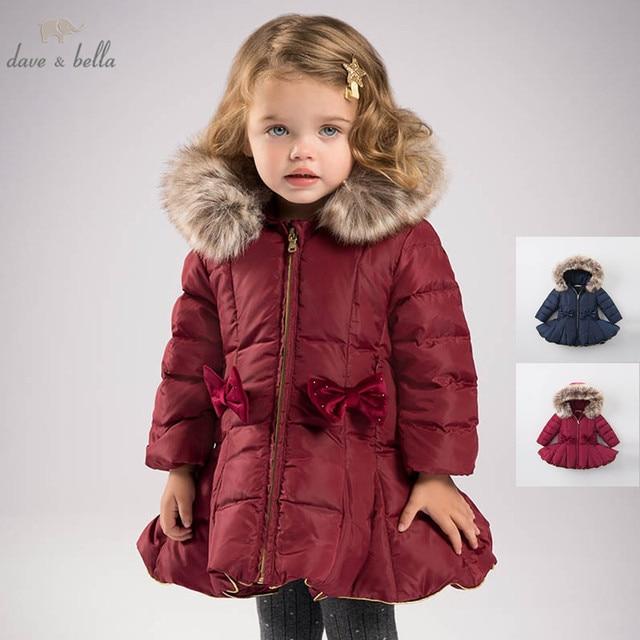 DB6099 dave bella kış bebek kız aşağı ceket çocuk 90% beyaz ördek aşağı yastıklı ceket çocuklar kapüşonlu giyim