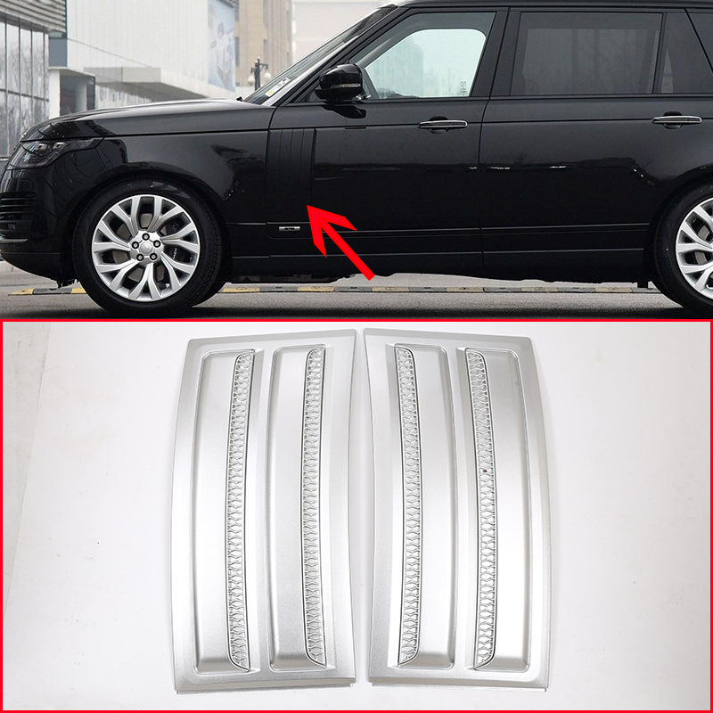 For Land Rover Range Rover Vogue SVO 2014-2018 ABS Matte Chrome Car Side Door Air Vents Kit Trim Accessories 2pcs 4pcs set car interior accessories side door molding trim for land rover range rover sport 2014 2015 2016 2017 styling abs chrome