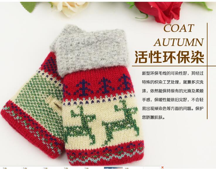 Hommes sans doigts des gants tricotés en laine à carreaux automne hiver  garder au chaud épaissir moitié doigt mitaines garçon gants cadeau de noël ff39dec4e50
