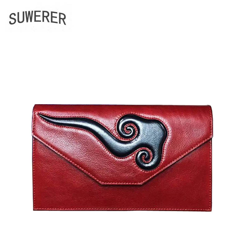 SUWERER New Cowhide Women Genuine Leather bags women clutch Envelope bag fashion luxury Embossed bag women leather clutch bag