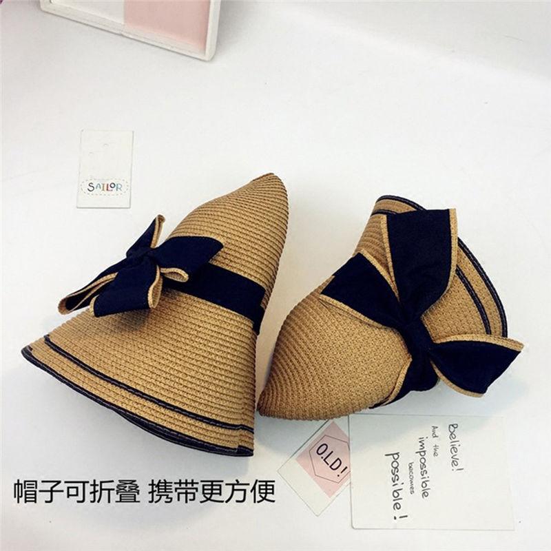 New Women Summer Parent-child Women Casual Daily Baby Kids Girl Beach Bow Straw Flat Brim Sun Hat Cap #4F09 (24)