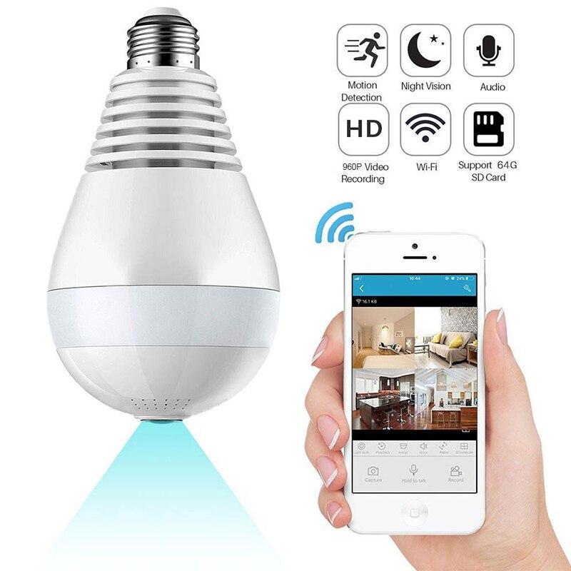 Sans fil 960 P Caméra de Sécurité À Domicile WiFi Panoramique Ampoule LED Lumière 360 Degrés Fisheye Sécurité Surveillance avec Deux-façon Audio
