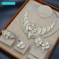 MECHOSEN Requisite Gorgeous Big 4/PCS Jewelry Set Leaf Shape Shiny Zircon Copper Necklace Bangle Ring Earrings Set Bride's Gifts