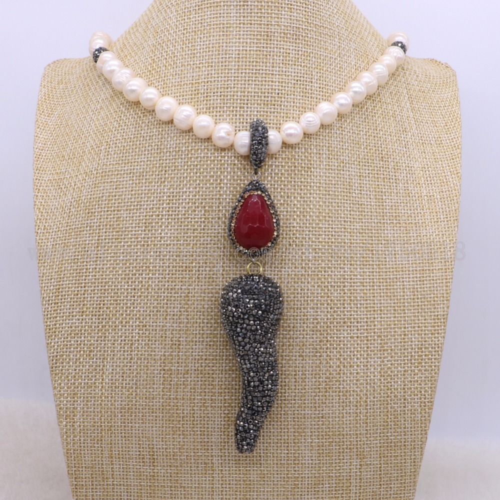 Natural pearl necklace with red Onyx stone and Horn pendants necklace jewelry necklace for women 1384