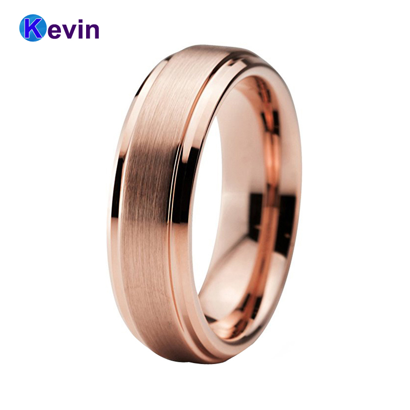 Rose Gold Wedding Band For Woman Men Tungsten Rose Gold Ring Stepped Bevel Edges 6MM цена и фото