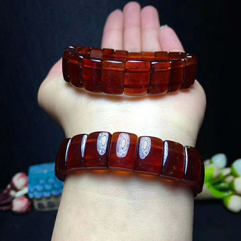 Оптовая оранжевый красный гранат природный камень Браслеты модные рука строка Красота Lucky для девочек подарок Для женщин камень Браслеты ювелирные изделия - 6
