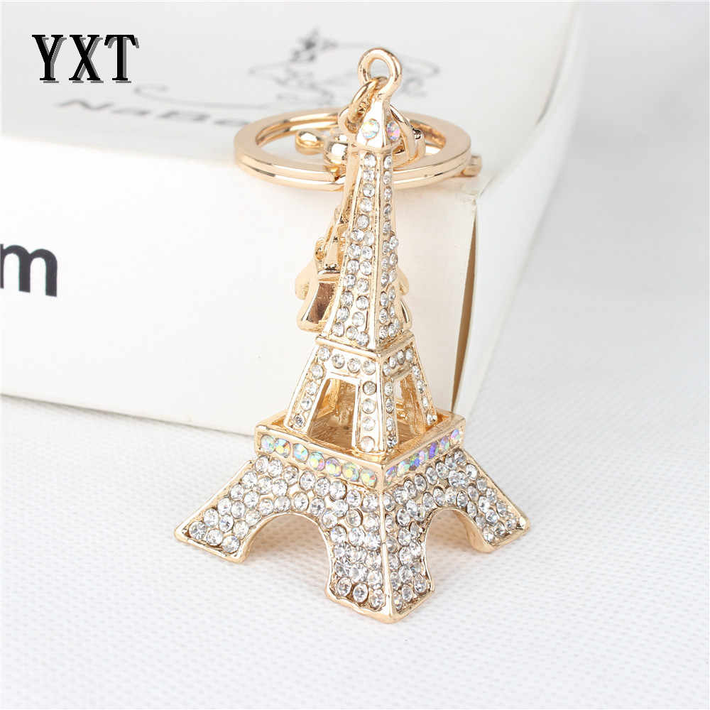 Đáng yêu Tháp Eiffel Keyring Rhinestone Pha Lê Charm Mặt Dây Chuyền Puse Thống Túi Chìa Khóa Xe Chuỗi Cô Gái Người Bạn Mẹ Con Gái Món Quà Rất Tốt