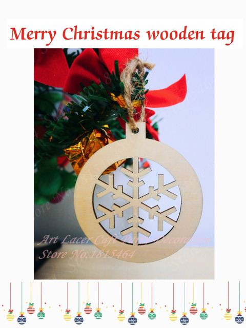 60pcs Christmas Tree Decoration Bell Snow Wooden Tags Ornaments Tag New Year Holiday Party