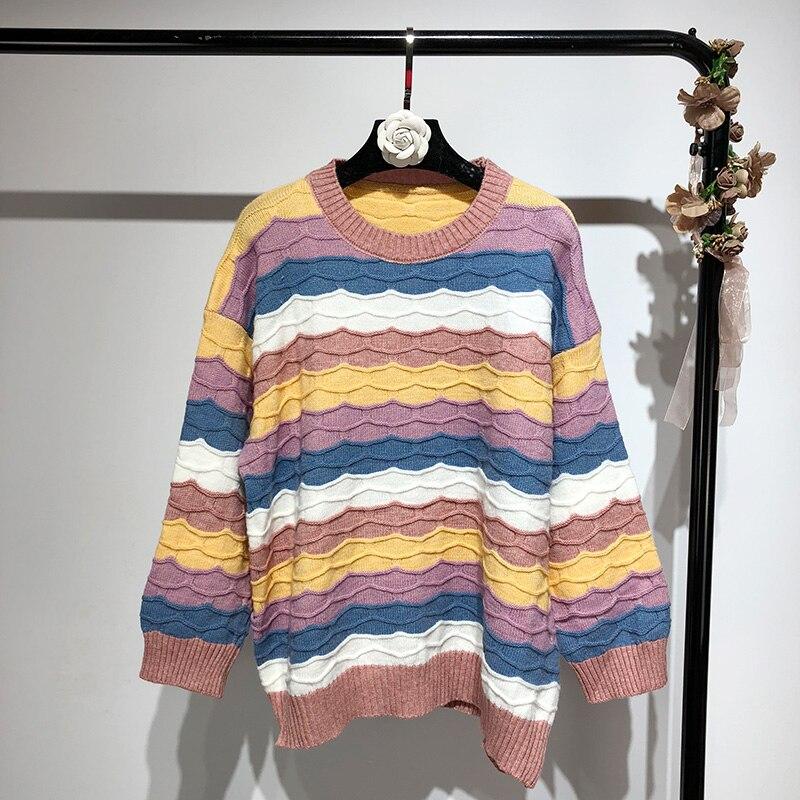 Rayas Invierno Contraste Jumper Suéteres blanco Otoño Colores Moda Suéter  Mujeres Rosado 2018 Pullover Streetwear Y0q5qz ecaf2da060cd