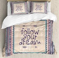Tribal Decor Duvet Cover Set Inspirational Quote Follow your Dream and Arrows Aztec Framed Graphic Art 4 Piece Bedding Set