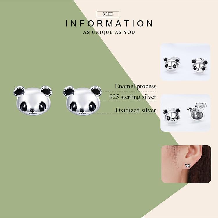 BAMOER Genuine 100% 925 Sterling Silver Animal Collection Cute Panda Stud Earrings for Women Sterling Silver Jewelry SCE386