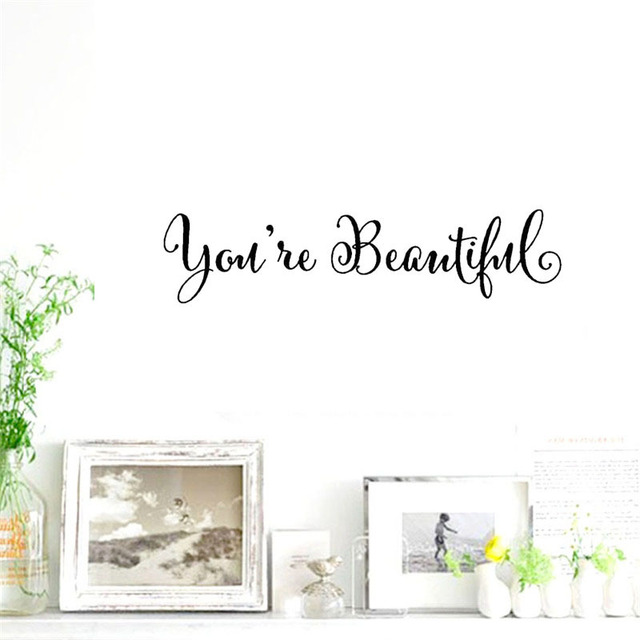 2pcs/lot Small Wall Sticker Self-adhesive You're Beautiful Mirror Wallpaper  Living