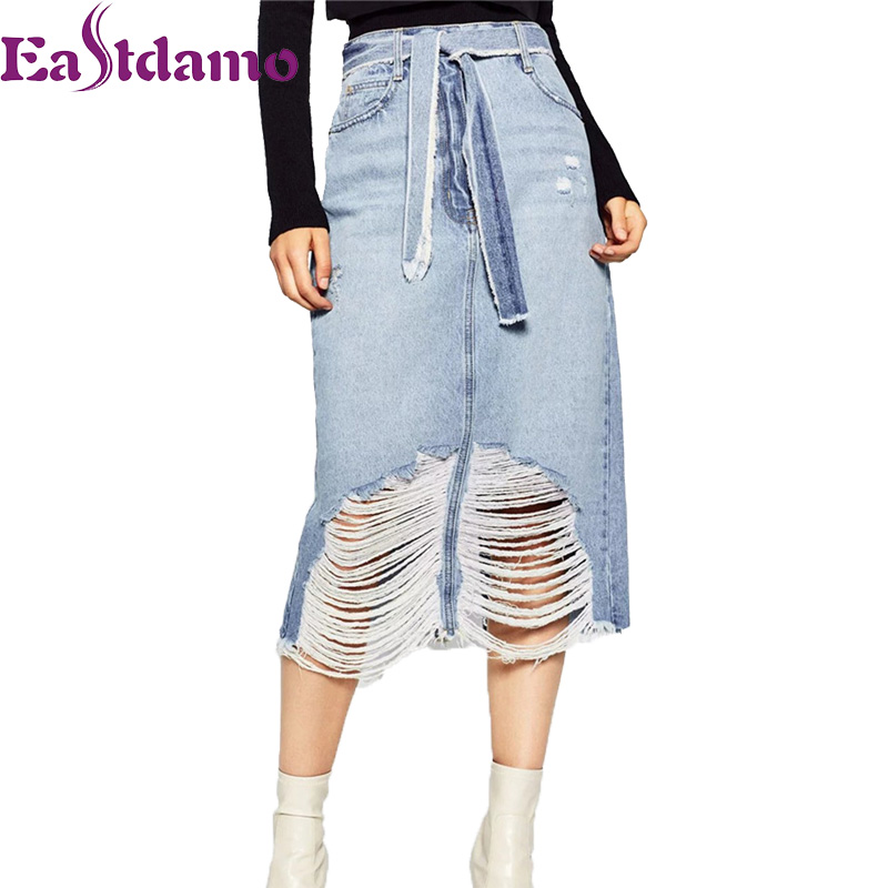 bf0aba35c1c Eastdamo Blue Denim Skirts Women 2017 New High Waist Long Jeans Skirt Sexy  Hole Ripped Maxi Midi Skirt Saias