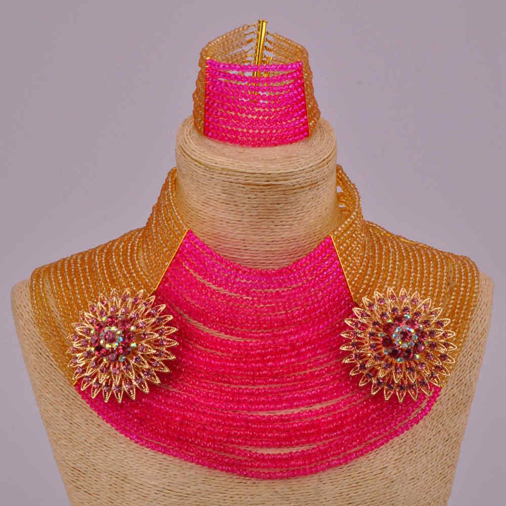 25 слоев золото фуксия розовый Африканский бусины комплект ювелирных изделий 25R17