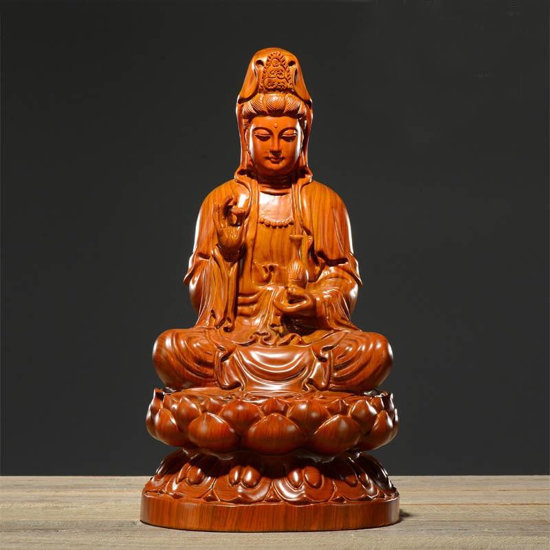 Offre spéciale 15 CM de hauteur maison protection spirituelle bénisse famille # fait à la main jaune poire bois sculpture Lotus Guanyin bouddha statue-in Statues et sculptures from Maison & Animalerie    1