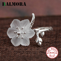 BALMORA New Crystal Flower Ring Genuine 925 Sterling Silver Elegant Rings For Women Lover Party Wedding