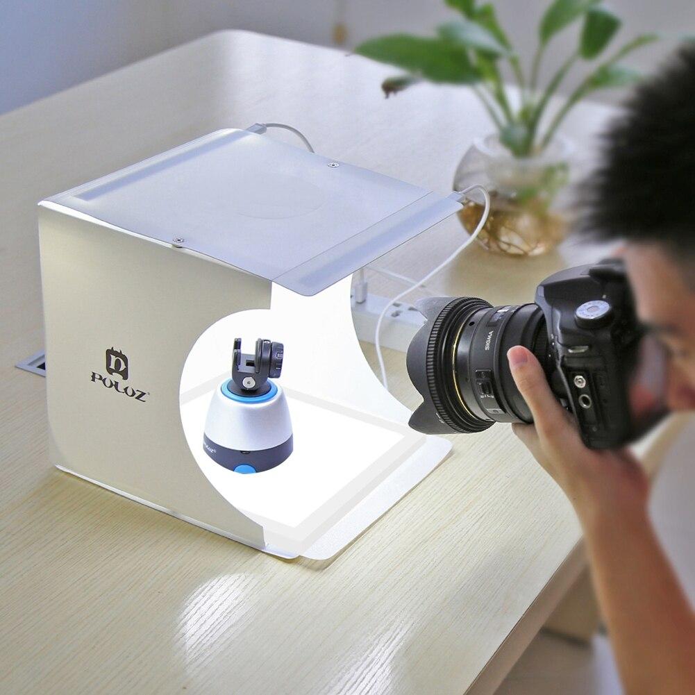 PULUZ 24x23x22 cm Kit Studio Photo boîte de photographie blanc froid 5600 K Led éclairage sans ombre panneaux lumineux avec 6 couleurs décors