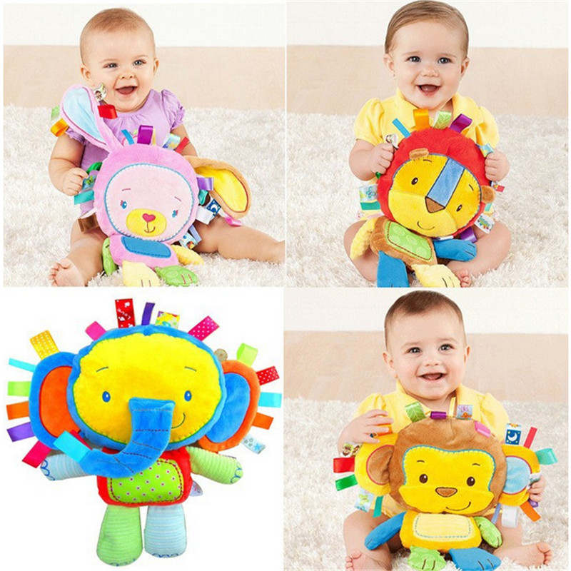infant soft appease toys monky elephant lion rabbit playmate calm doll baby toys with bb ring rattles plush toy christmas gift