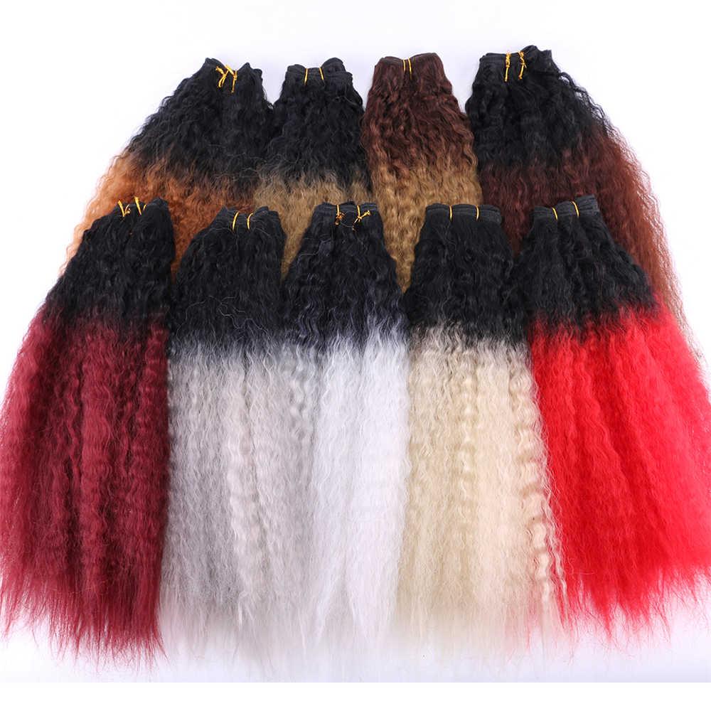 """2 шт./лот черный золотой пучки волос """"омбре"""" 16-20 дюймов в наличии 70 г одна деталь кудрявые прямые волосы для наращивания синтетическая ткань"""