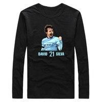 2017 Autumn Winter Men Comic David Silva 21 S XXXL Manchester Core Star T Shirt Long