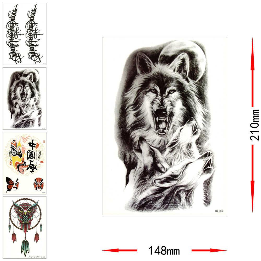 Временные татуировки Стикеры Водонепроницаемая мнимый Arm Сова волк Орел переводная татуировка Бэтмен черный текст мужские и женские тела искусство макияжа