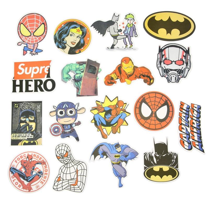 NEW 50 Pcs/Lot Stickers For MARVEL Super Hero DC For Car Laptop Notebook Decal Fridge Skateboard Batman Superman Hulk Iron Man