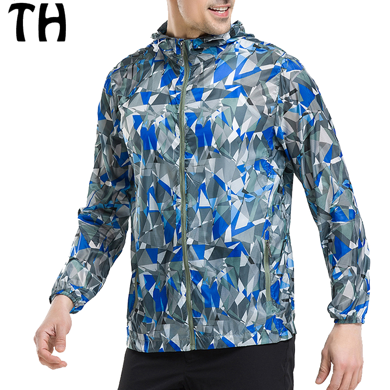 2016 Thin Light Quick-drying Breathable Windbreaker Men Jackets Geometric Print Zipper Hooded Casual Coats #161377A
