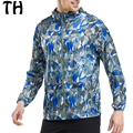 2016 Thin Light Quick-drying Breathable Windbreaker Men Jackets Geometric Print Zipper Hooded Casual Coats #161377A